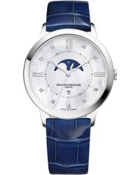 Baume & Mercier - Classima 10226 Moonphase Diamond, Mother-of-pearl, Stainless Steel & Patent Alligator Strap Watch - Lyst