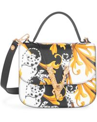 Versace Virtus Barocco-print Leather Top Handle Bag - Black
