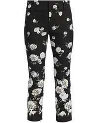 Alice + Olivia Stacey Floral Slim-fit Ankle Pants - Black