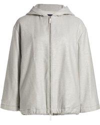 Piazza Sempione Lurex Stretch Hooded Jacket - Gray