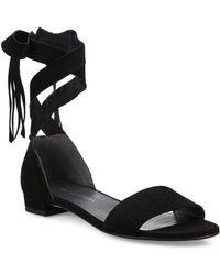 Stuart Weitzman Corbata Suede Lace Sandals - Black