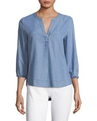 Vineyard Vines - Chambray Tie Sleeve Top - Lyst
