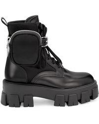Prada Lug-sole Combat Boots - Black