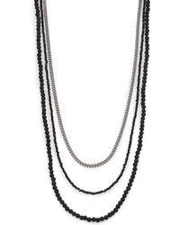 King Baby Studio - Black & Silver Triple Strand Necklace - Lyst