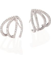 Meira T | Pave Diamond & 14k White Gold Cage Earrings | Lyst