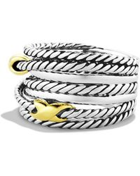 David Yurman - Double X Crossover Ring With Gold - Lyst