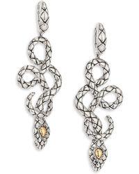 John Hardy - Cobra Sterling Silver & 18k Yellow Gold Drop Earrings - Lyst