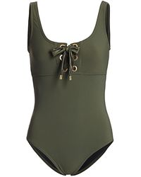 Karla Colletto Maritta Lace-up One-piece Swimsuit - Green