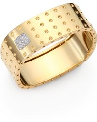 Roberto Coin - Pois Moi Diamond & 18k Yellow Gold Four-row Bangle Bracelet - Lyst