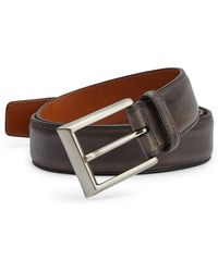 Saks Fifth Avenue Saks Fifth Avenue By Magnanni Barnished Leather Belt - Gray