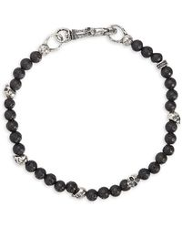 John Varvatos Mercer Sterling Silver & Lava Bead Skull Bracelet - Black
