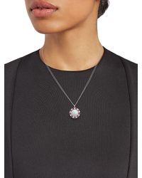 Renee Lewis 18k White Gold, Moonstone, Diamond & Ruby Pendant Necklace - Metallic