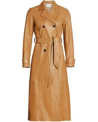 FRAME Leather Trench Coat - Brown