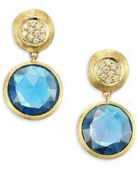 Marco Bicego - Jaipur London Diamond & Blue Topaz Drop Earrings - Lyst