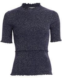 3.1 Phillip Lim Lurex Short-sleeve Sweater - Blue