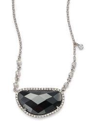 Meira T - Hematite, Diamond & 14k White Gold Pendant Necklace - Lyst