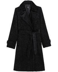 Theory Oaklane Faux Fur Tie-waist Trench Coat - Black
