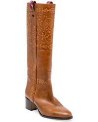 Valentino Santeria Tall Leather Boots - Brown