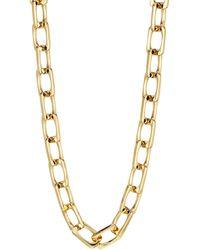 Lafayette 148 New York Rectangle Link Necklace - Metallic
