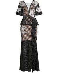 Elliatt Meghan Embroidered Gown - Black