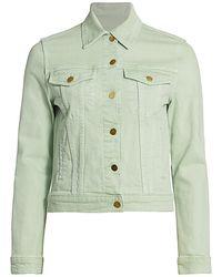 FRAME Le Vintage Crop Denim Jacket - Green