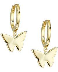 Jennifer Zeuner Mariah 14k Goldplated Sterling Silver Butterfly Charm Huggie Earrings - Metallic