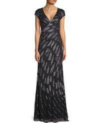 Basix Black Label - Cap-sleeve Sequin Beaded Gown - Lyst