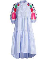 Stella Jean Bird Embroidered Dress - Blue
