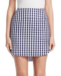 Monse - Gingham Shirttail Hem Mini Skirt - Lyst