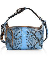 Ganni Colorblock Snakeskin-embossed Leather Hobo Bag - Multicolor