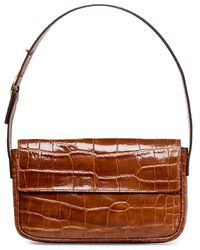 STAUD Tommy Croc-embossed Leather Baguette - Brown