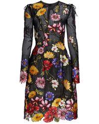 Oscar de la Renta Floral Embroidered Cocktail Dress - Black
