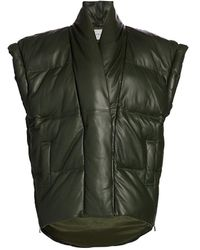 FRAME Sleeveless Leather Puffer Jacket - Green