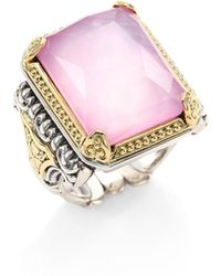 Konstantino - Iliada Pink Mother-of-pearl, Quartz Doublet, 18k Yellow Gold & Sterling Silver Rectangle Ring - Lyst