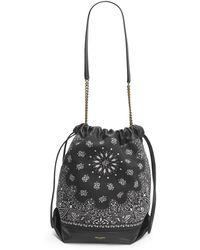 Saint Laurent Teddy Bandana Print Drawstring Bucket Bag - Black