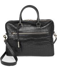 Saint Laurent - Crocodile Embossed Leather Briefcase - Lyst