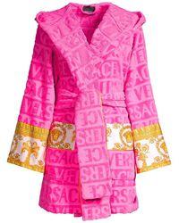 Versace Barocco Wrap Robe - Pink