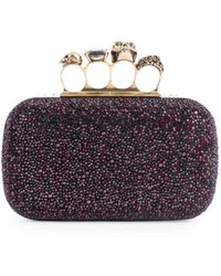 Alexander McQueen Skull Four-ring Beaded Leather Box Clutch - Red