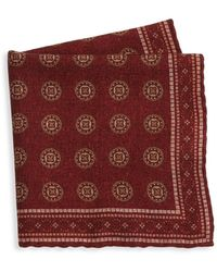 Brunello Cucinelli Tapestry Print Wool Pocket Square - Red