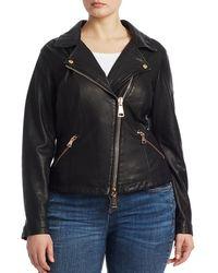 Marina Rinaldi Ebanista Leather Biker Jacket - Black