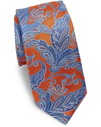 Ike Behar - Orange Paisley Silk Tie - Lyst
