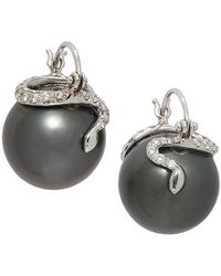 Samira 13 18k White Gold, Diamond & 14mm Pearl Snake Drop Earrings - Metallic