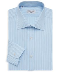 Charvet Stripe Cotton Dress Shirt - Blue