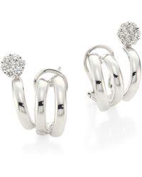 Hueb - Diamond Flower & 18k White Gold Earrings - Lyst