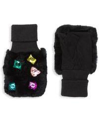 Glamourpuss Multicolour Jewel Rabbit Fur-trim Mittens - Black