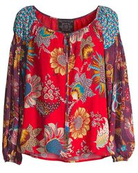 Johnny Was Tasha Floral Peasant Blouse - Red