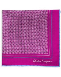 Ferragamo Gancini Silk Pocket Square - Purple