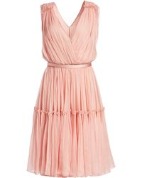 Stella McCartney - Women's Plisse Chiffon V-neck A-line Gown - Powder - Size 46 (14) - Lyst