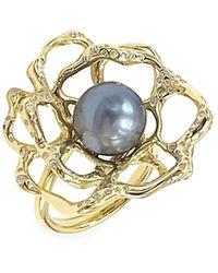 Ippolita Rock Candy Large 18k Yellow Gold, Diamond & Flower Ring - Metallic