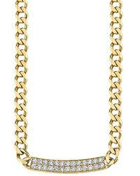 Sydney Evan 14k Yellow Gold & Diamond Id Bar Link Necklace - Metallic